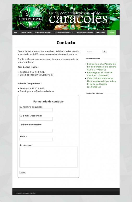 Página de Contacto de helixvaldavia.es